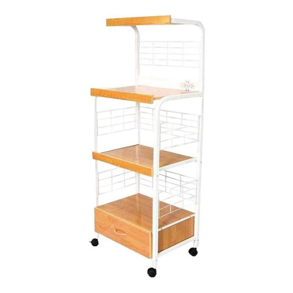 Ore International White Microwave Cart With Shelf