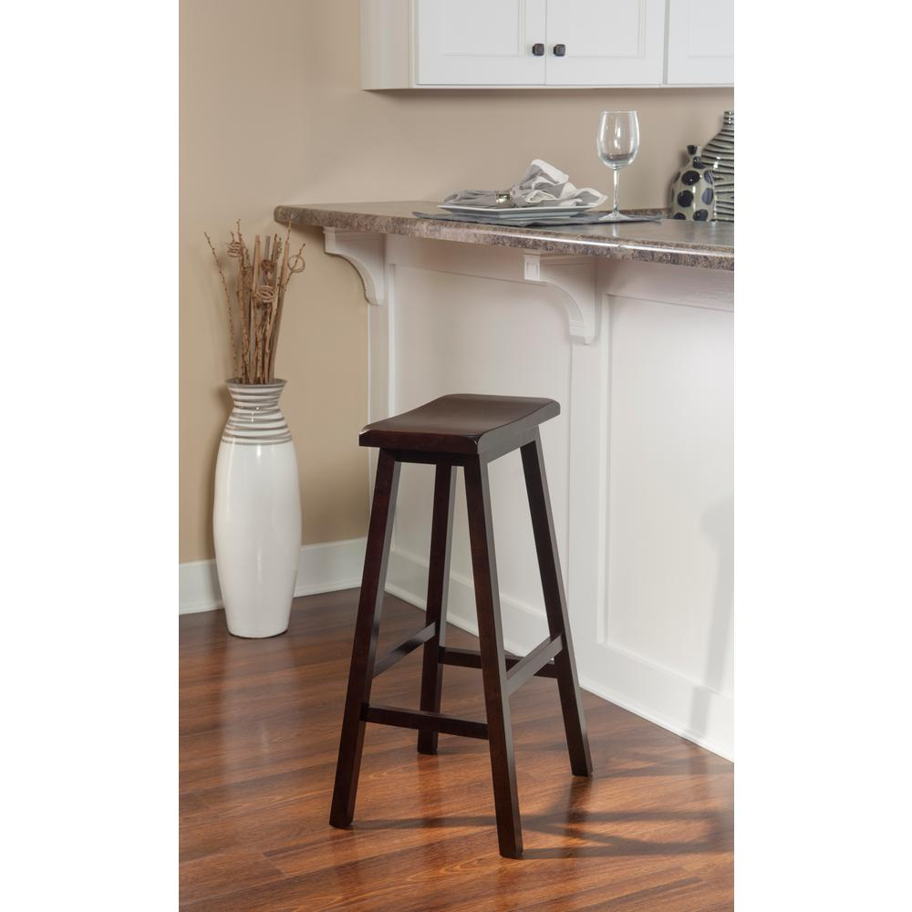 Linon Home Decor Saddle 29 In Dark Brown Bar Stool