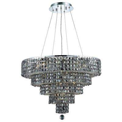 14-Light Chrome Chandelier with Silver Shade Grey Crystal