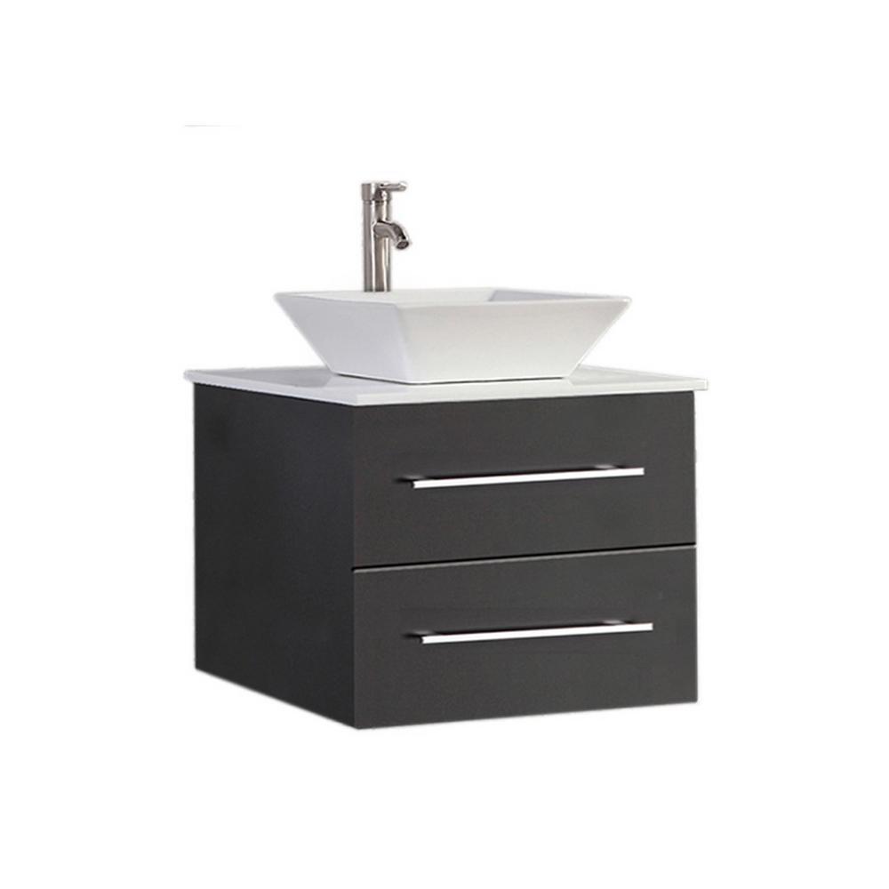 Mesina-WM 24 in. W x 20 in. D x 20 in. H Vanity in Espresso with Ceramic Vanity Top in White with White Basin