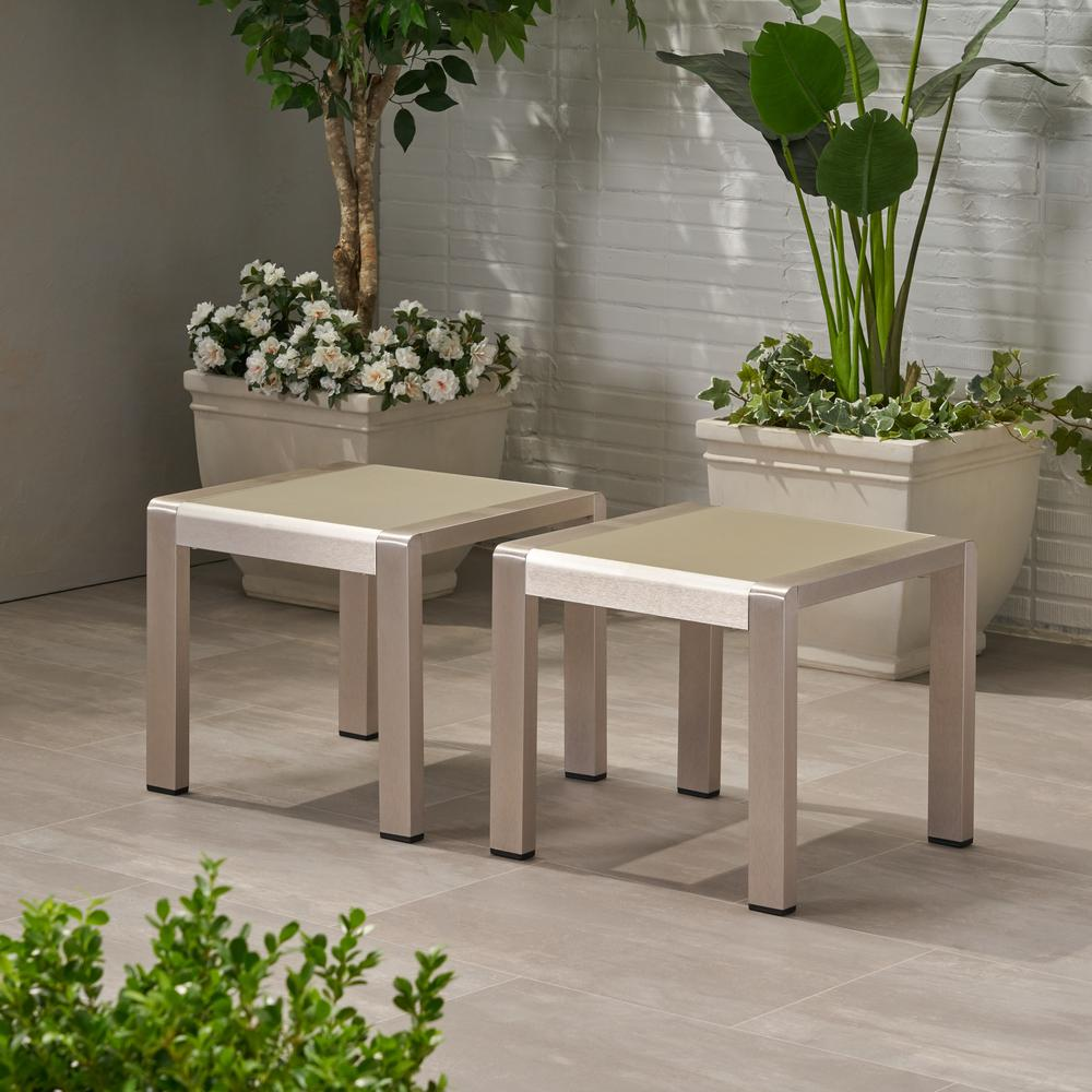 Cape Coral Silver Outdoor Aluminum Side Table (Set of 2)