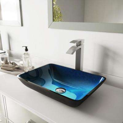 Rectangular Glass Vessel Bathroom Sink in Turquoise Water and Duris Faucet Set in Brushed Nickel