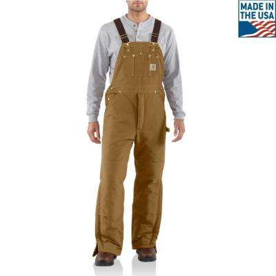 Men'S 40 in x 34 in. Carhartt Brown Cotton Arctic Quilt Lined Duck Bib Overalls