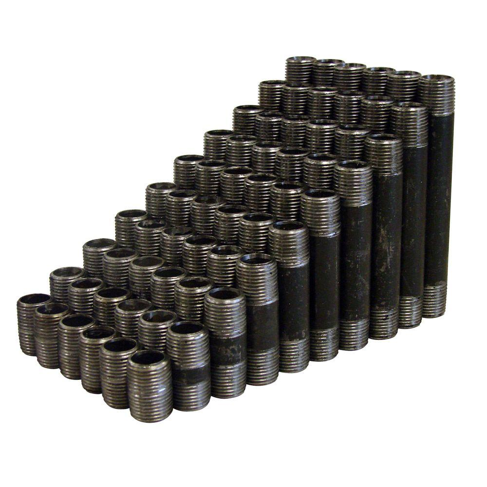 60-Piece 1 in. Black Steel Male Threaded Nipple Set