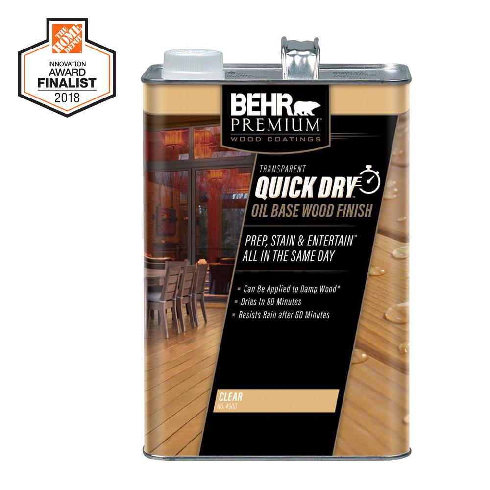 Behr Premium 1 Gal Transpa Quick Dry Oil Base Wood Finish Clear Exterior Stain