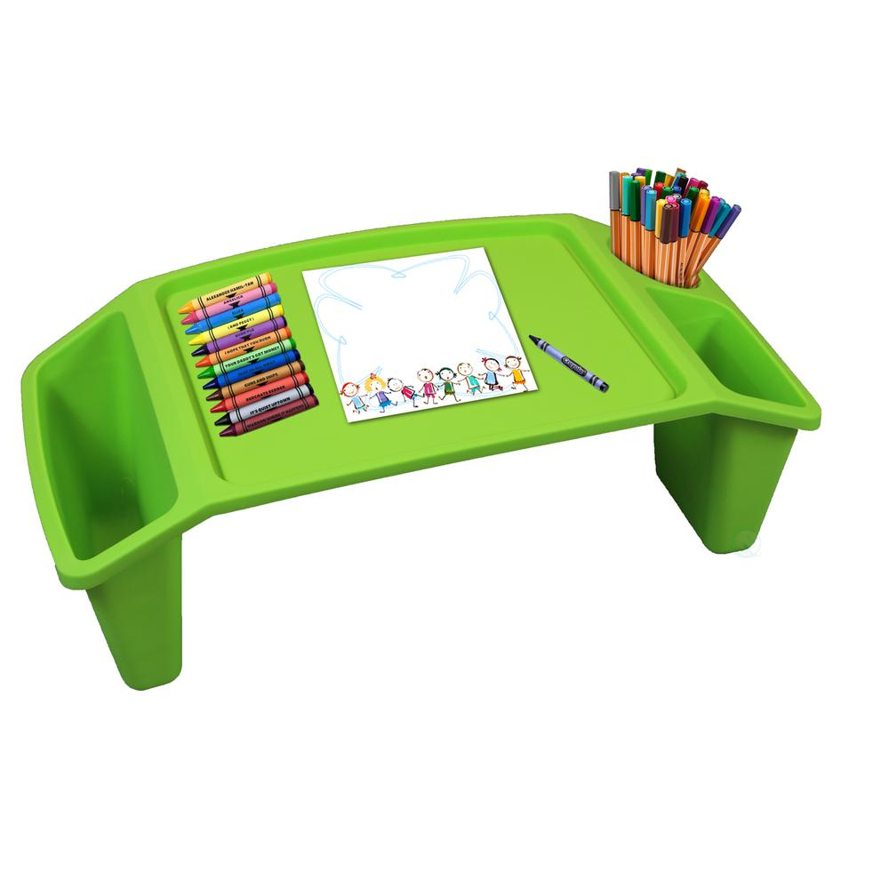 Basicwise Green Kids Lap Desk Tray Portable Activity Table