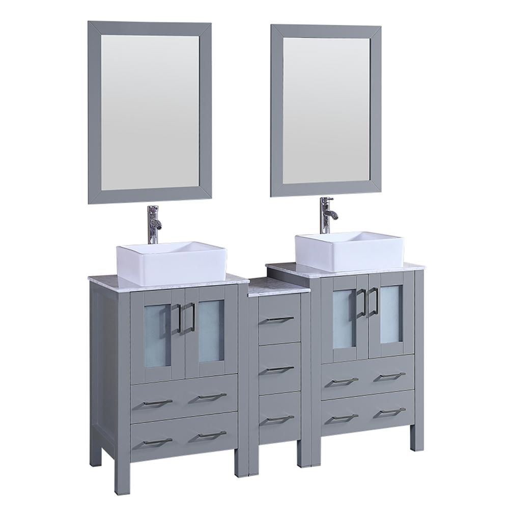 Bosconi 60 in. W Double Bath Vanity with Carrara Marble Vanity Top in Gray with White Basin and Mirror
