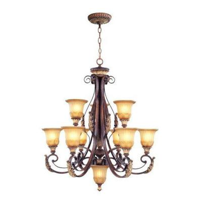 10-Light Verona Bronze Chandelier with Aged Gold Leaf Accents and Rustic Art Glass Shades