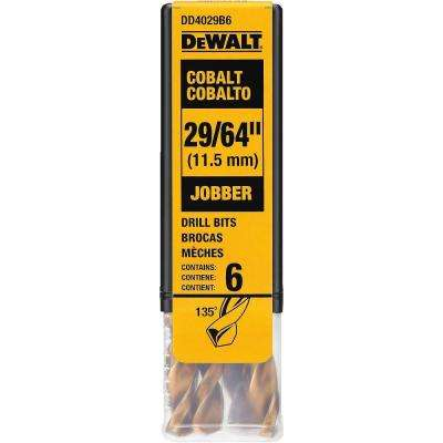 29/64 in. Cobalt Jobber Length Drill Bit (6-Pack)