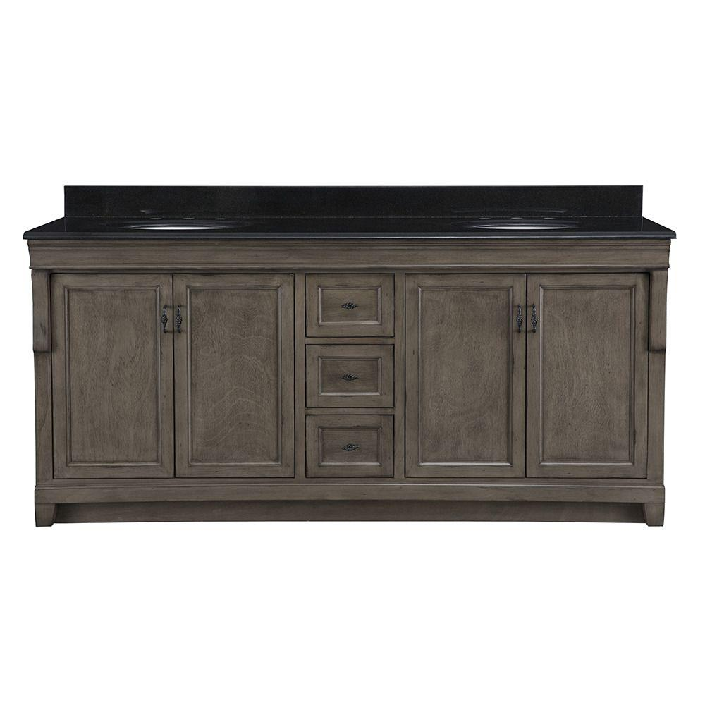 Home Decorators Double Bath Vanity Distressed Grey Granite Vanity Top Black