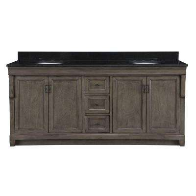 Naples 72 in. W x 22 in. D Double Bath Vanity in Distressed Grey with Granite Vanity Top in Black