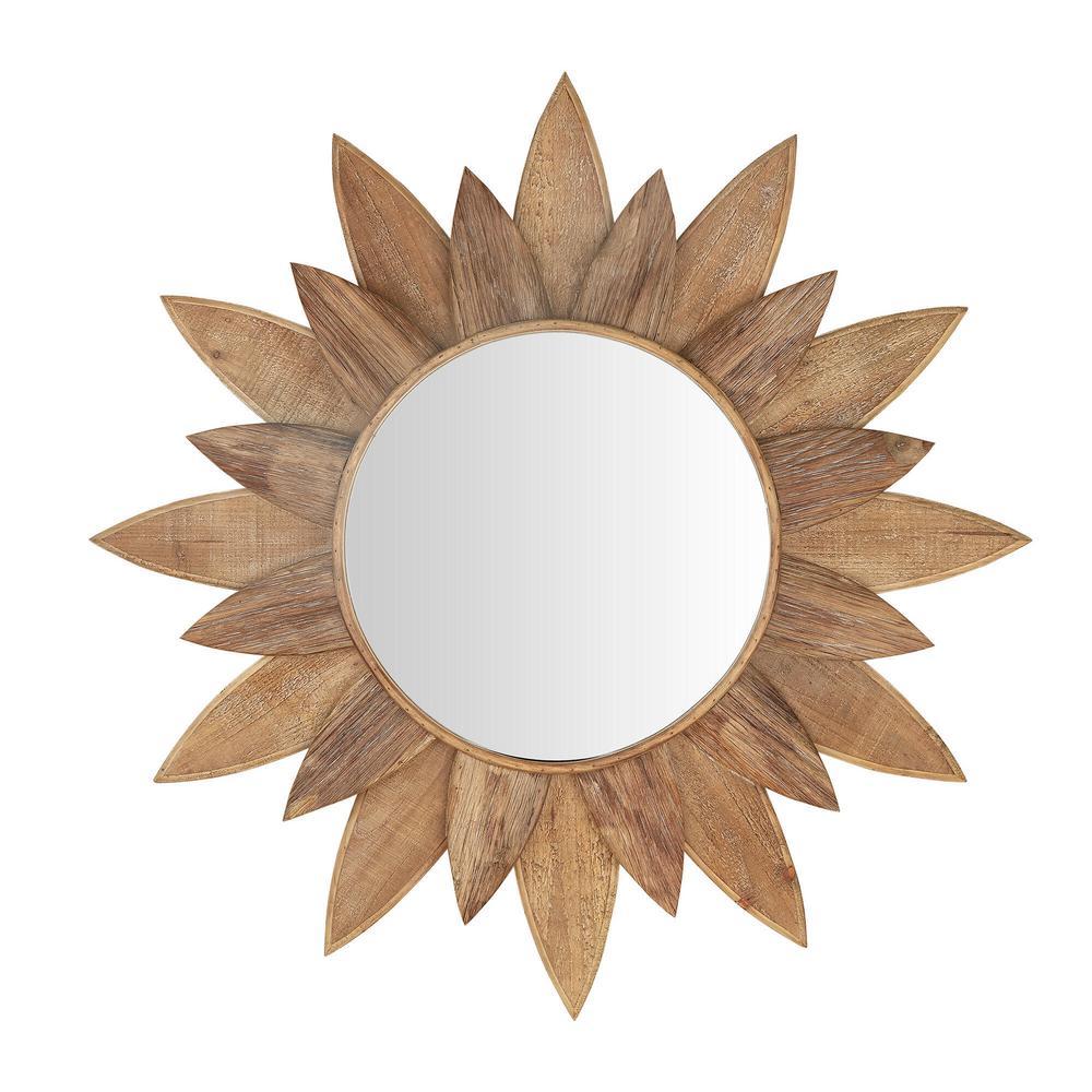 Medium Sunburst Brown Antiqued Art Deco Accent Mirror (34 in. Diameter)
