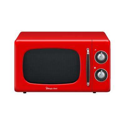Retro 0.7 cu. ft. Countertop Microwave in Red