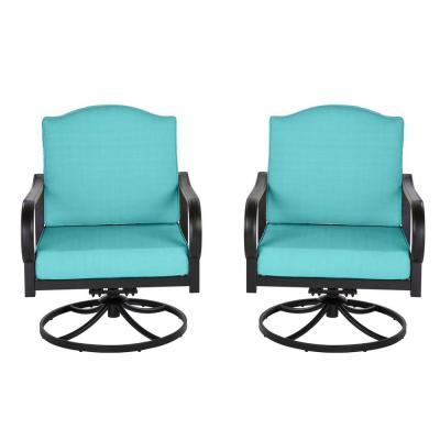 Laurel Oaks Brown Steel Outdoor Patio Lounge Chair with Cushion Guard Seaglass Turquoise Cushions (2-Pack)