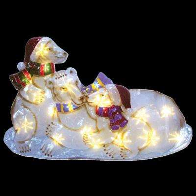 21 in. Battery Operated Icy Pure White Twinkling LED Polar Bear Family Lawn Silhouette