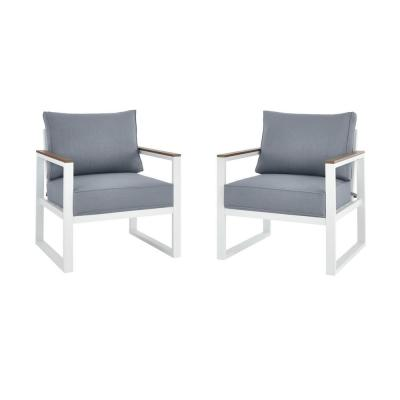 West Park White Aluminum Outdoor Patio Lounge Chair with CushionGuard Steel Blue Cushions (2-Pack)