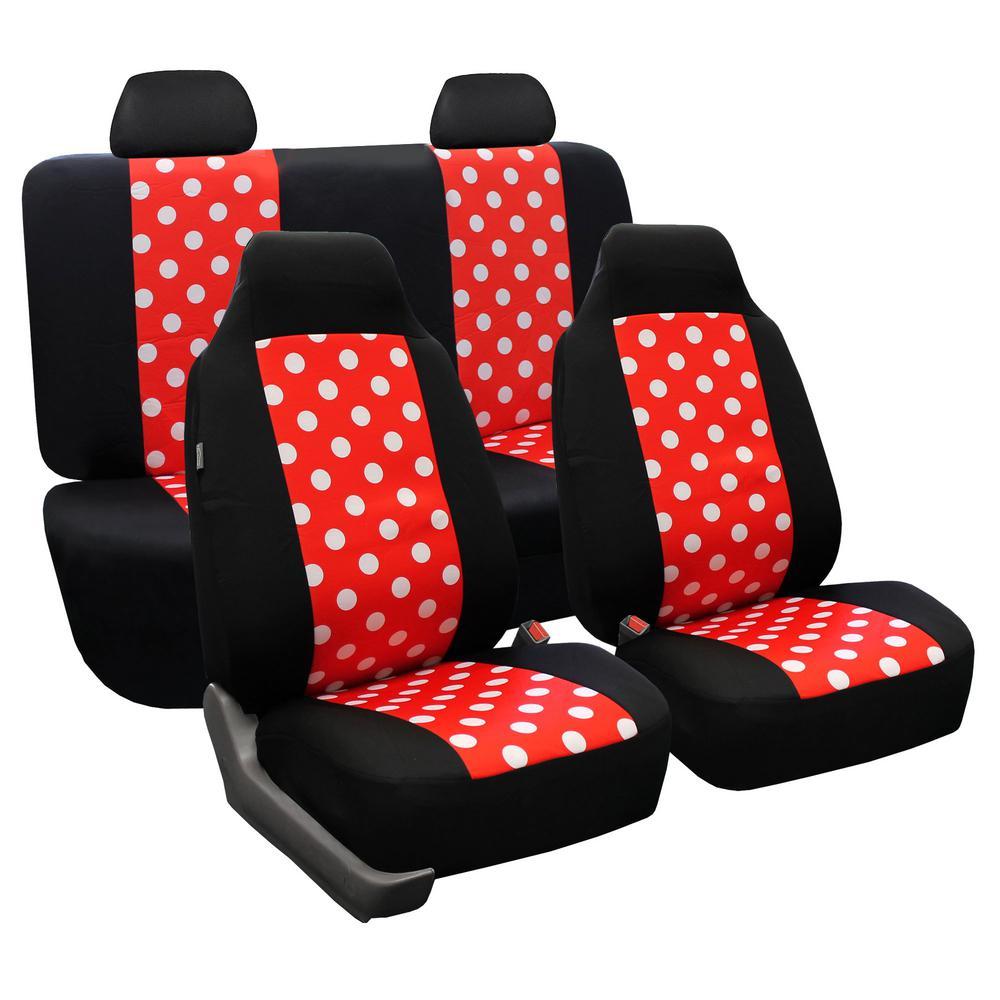 Flat Cloth 47 in x 23 in. x 1 in. Polka Dot Full Set Seat Covers