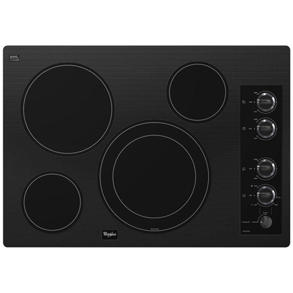 Whirlpool Gold 30 in. Radiant Electric Cooktop in Black with 4 Elements including AccuSimmer Element