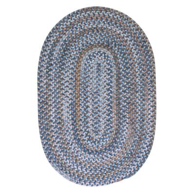 Newport Harbor Blue 5 ft. x 7 ft. Oval Braided Area Rug