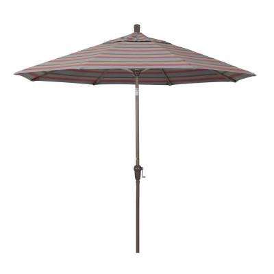 9 ft. Champange Aluminum Market Auto-tilt Crank Lift Patio Umbrella in Gateway Blush Sunbrella