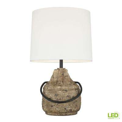 ED Ellen DeGeneres Crafted by Generation Lighting Augie 27.375 in. Stone Finish Table Lamp with White Linen Drum Shade