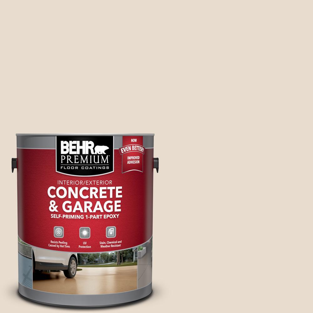 BEHR Premium 1 gal. #OR-W11 White Mocha Self-Priming 1-Part Epoxy Satin Interior/Exterior Concrete and Garage Floor Paint