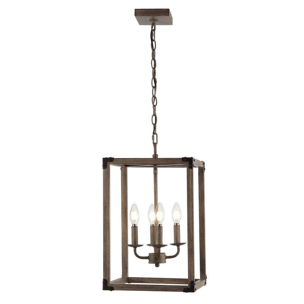 Magnolia 12.13 in. 4-Light Brown/Oil Rubbed Bronze Adjustable Iron Rustic Farmhouse LED Pendant
