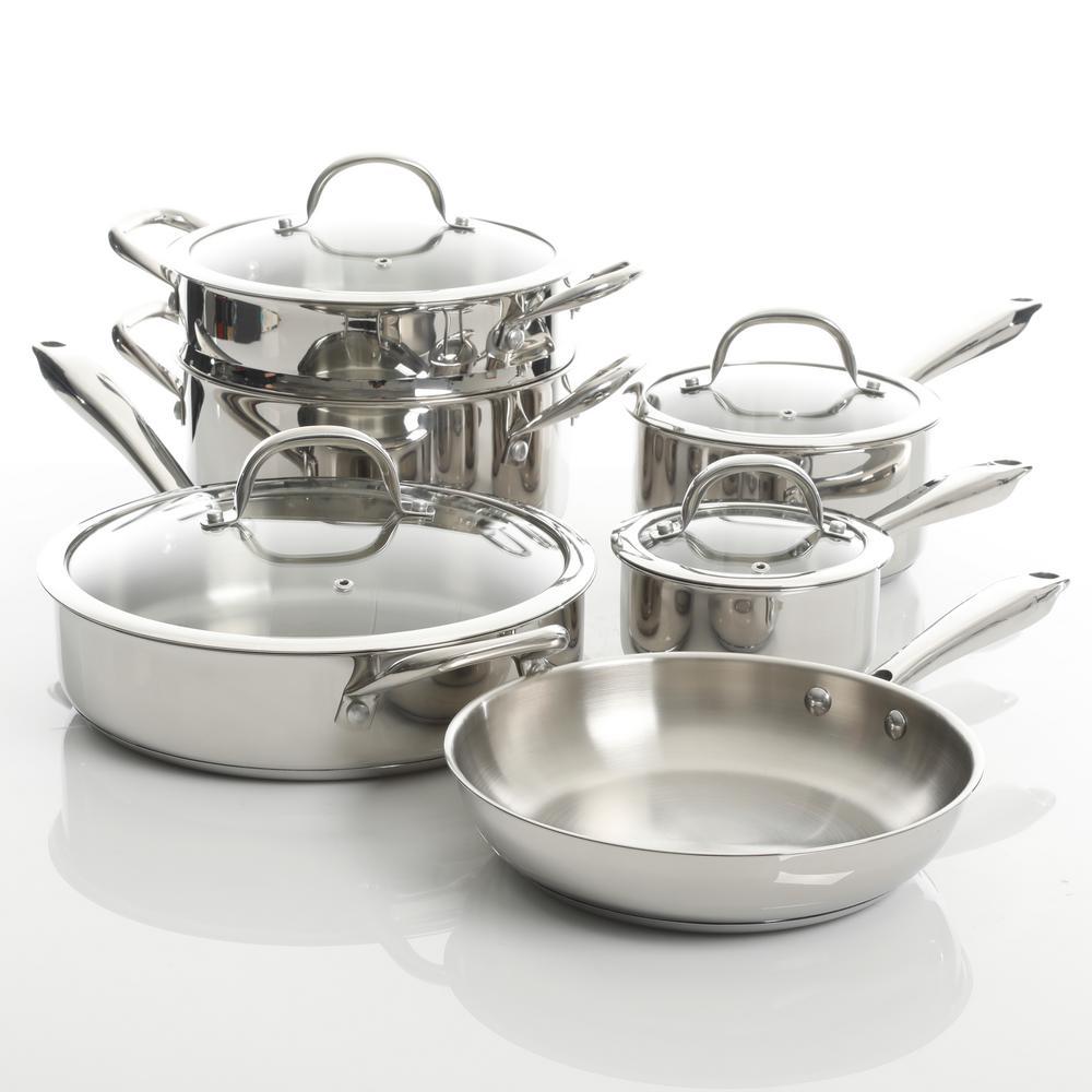 Devon 10-Piece Stainless Steel Cookware Set in Silver