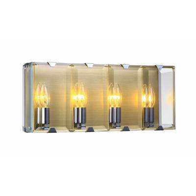 4-Light Antique Brass Sconce with Beveled Glass Panels