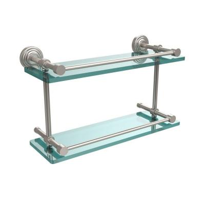 Waverly Place 16 in. L x 8 in. H x 5 in. W 2-Tier Clear Glass Bathroom Shelf with Gallery Rail in Satin Nickel