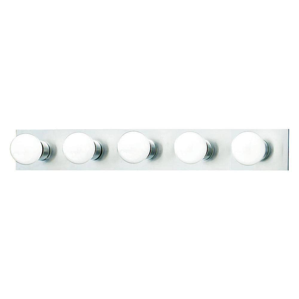 Thomas Lighting 5-Light Brushed Nickel Wall Vanity Light-SL741578 - The Home  Depot - Thomas Lighting 5-Light Brushed Nickel Wall Vanity Light-SL741578