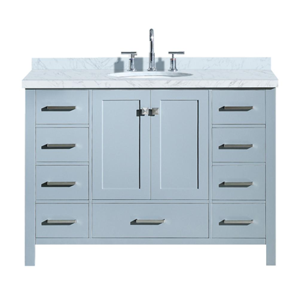 Ariel Cambridge 49 in. Bath Vanity in Grey with Marble Vanity Top in Carrara White with White Basin