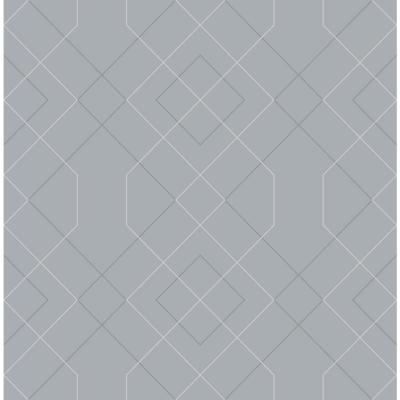Ballard Pewter Geometric Pewter Paper Strippable Roll (Covers 56.4 sq. ft.)