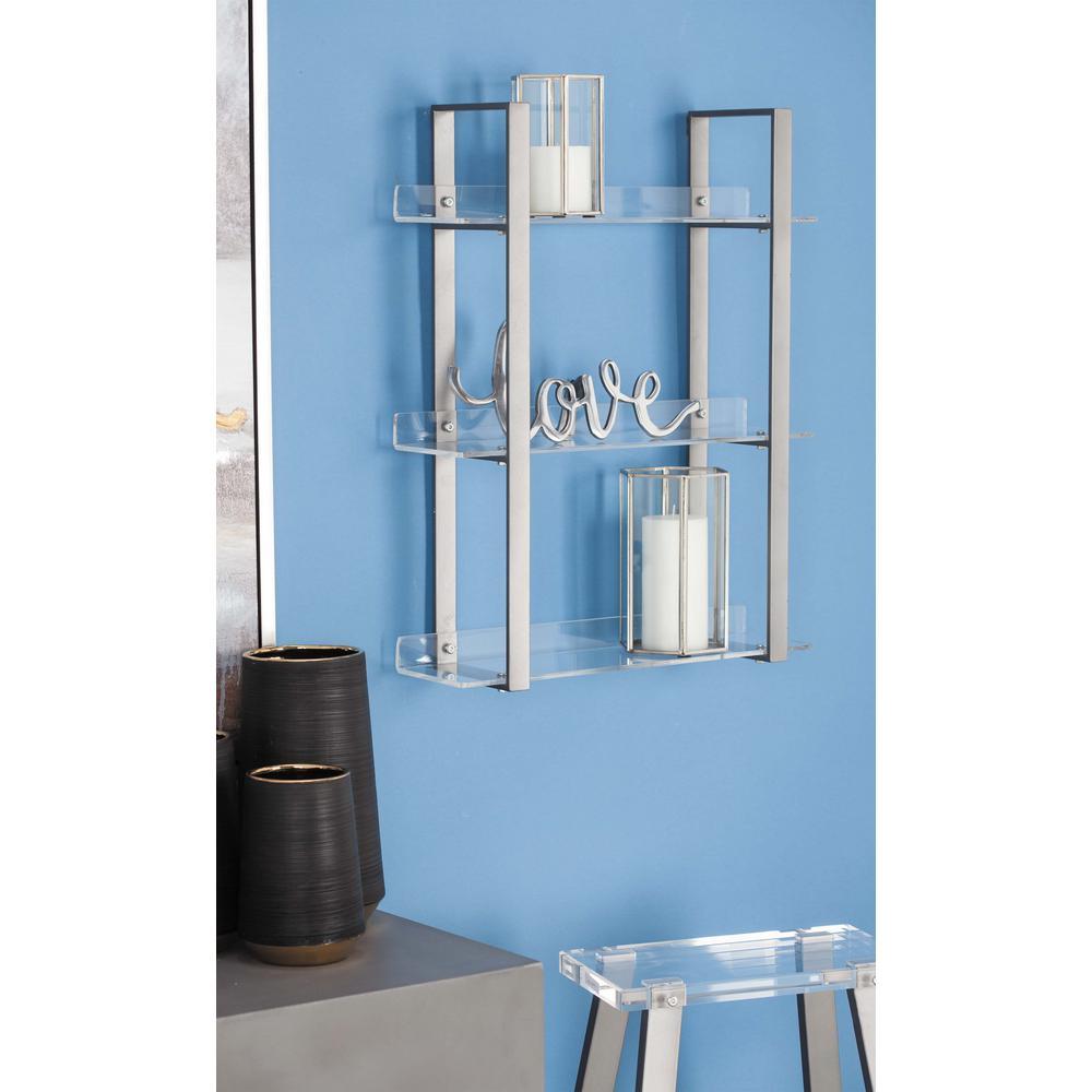 6 in. L x 19 in. W Modern 3-Tier Metallic Gray Iron and Acrylic Shelf