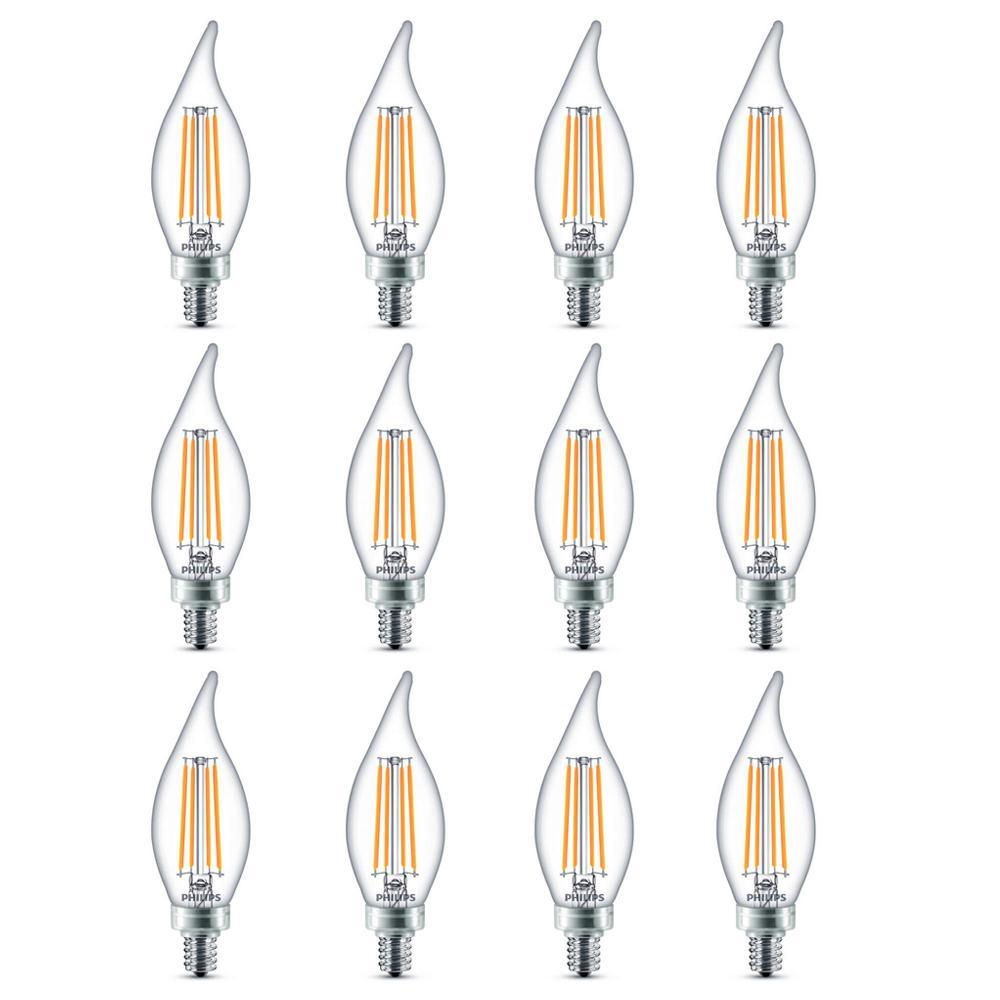 Led Light Bulb Candelabra Base: Philips 60-Watt Equivalent B11 Dimmable Edison Glass LED