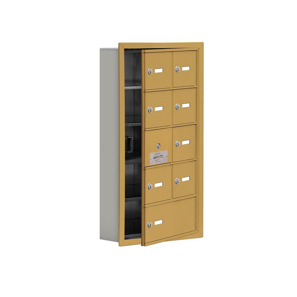 19100 Series 16.25 in. W x 29.75 in. H x 5.75 in. D 8 Doors Cell Phone Locker Recess Mount Keyed Lock in Gold