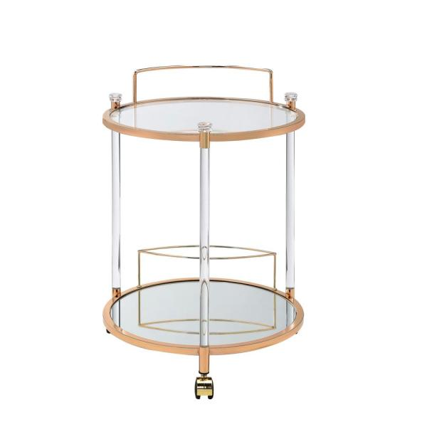 ACME Furniture Todd Clear Glass and Gold Serving Cart 98199