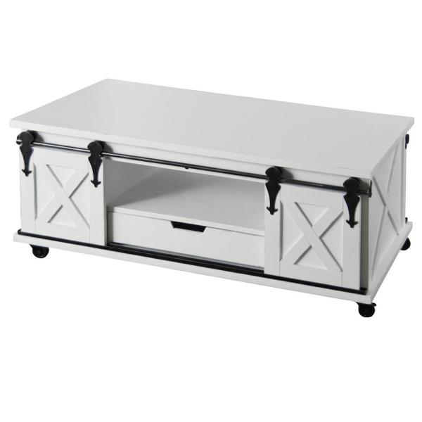 18 in. Antique White Coffee Table
