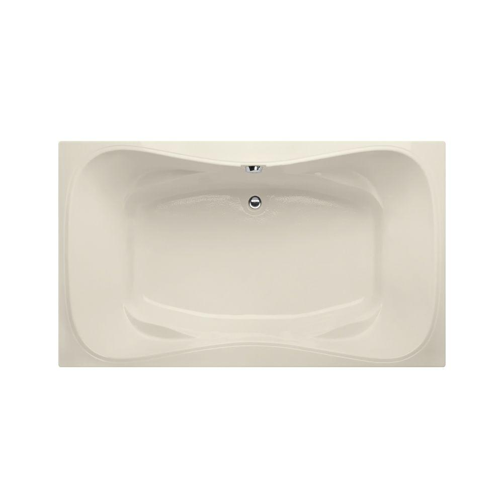 Providence 5 ft. Reversible Drain Air Bath Tub in Biscuit