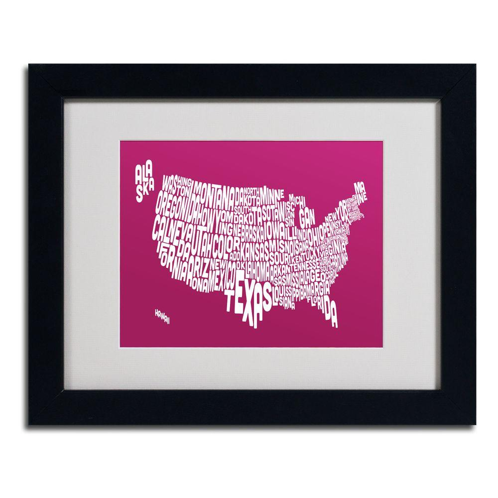 11 in. x 14 in. USA States Text Map - Raspberry