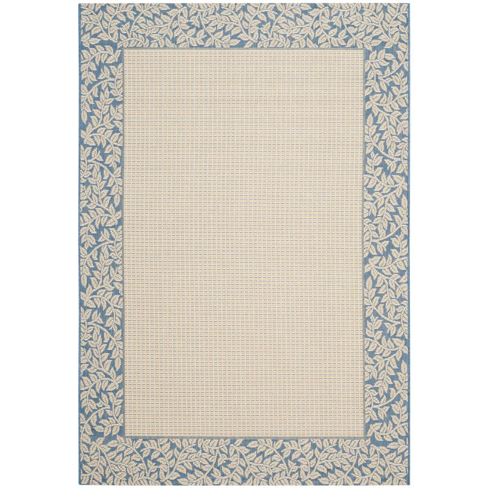 Courtyard Natural/Blue 6 ft. 7 in. x 9 ft. 6 in.