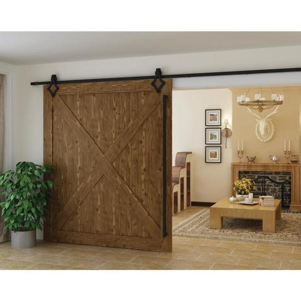 Delaney 6000 Series 6 Ft Black Diamond Style Rollers Barn Door Hardware Kit Bd6064 The Home Depot