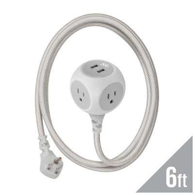 3-Outlet with 2-2.4 Amp USB and 6 ft. Braided Cord