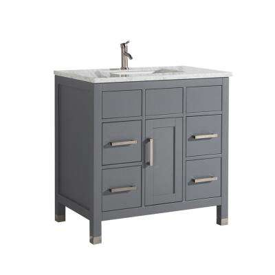 Reisa 36 in. W x 22 in. D x 36 in. H Vanity in Grey with Marble Vanity Top in White with White Basin