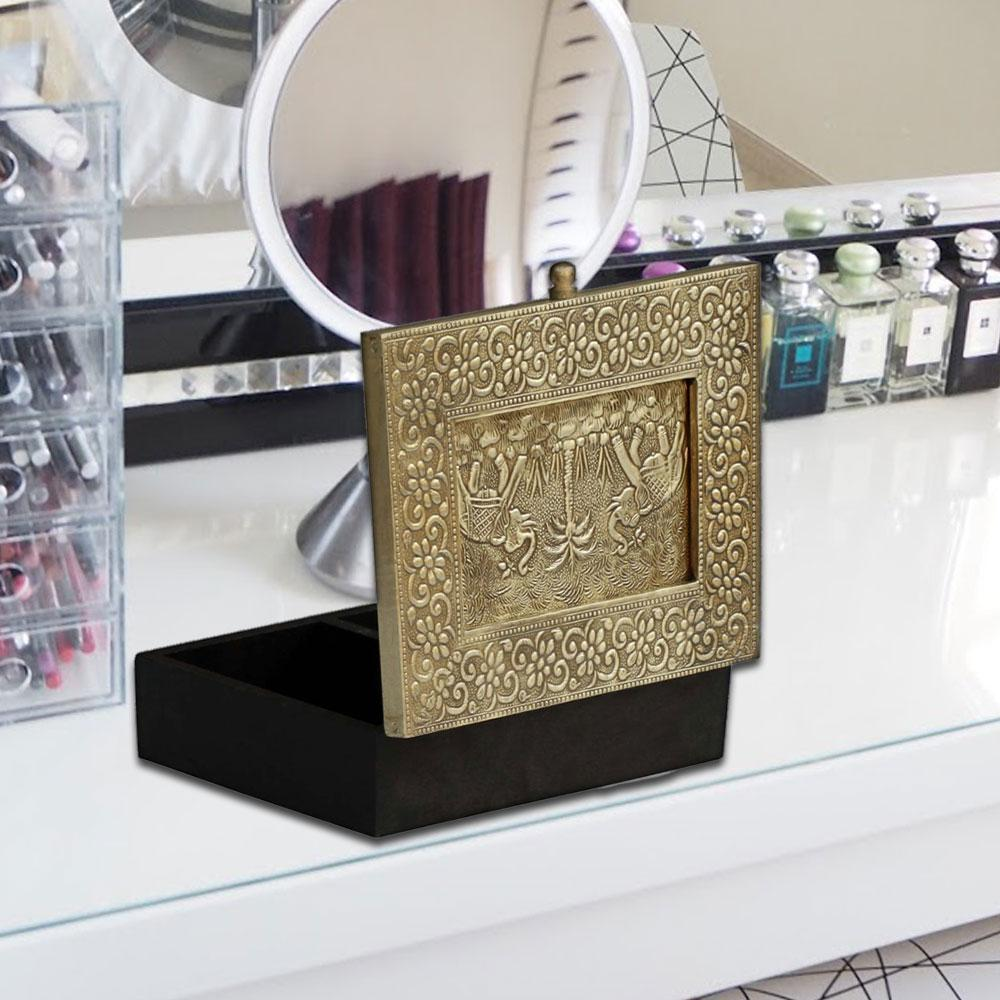 Gold and black finish Handmade Wooden Jewellery Box With Embossed Metal