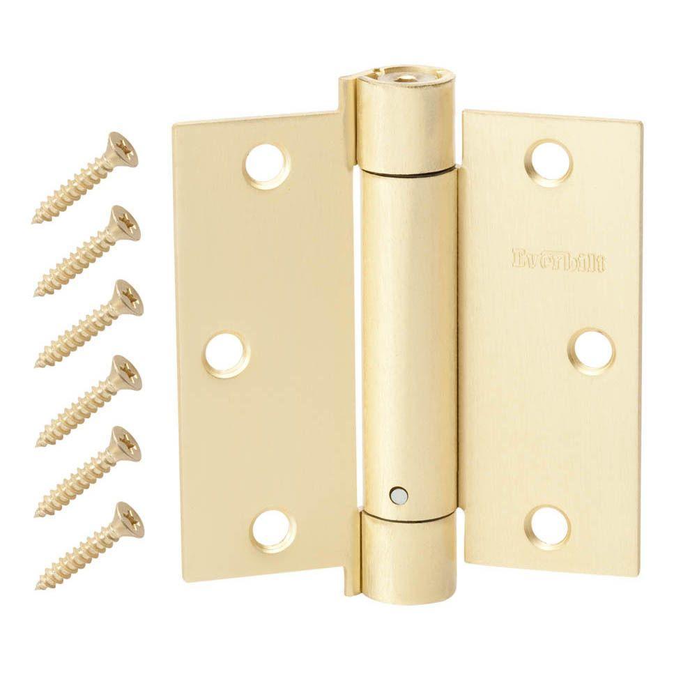 3-1/2 in. Satin Brass Adjustable Spring Door Hinge