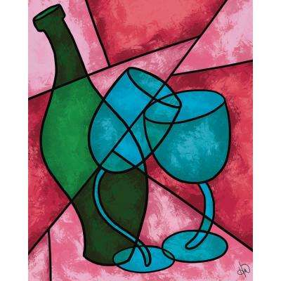 "16 in. x 20 in. ""Wine and Glasses"" Planked Wood Wall Art Print"