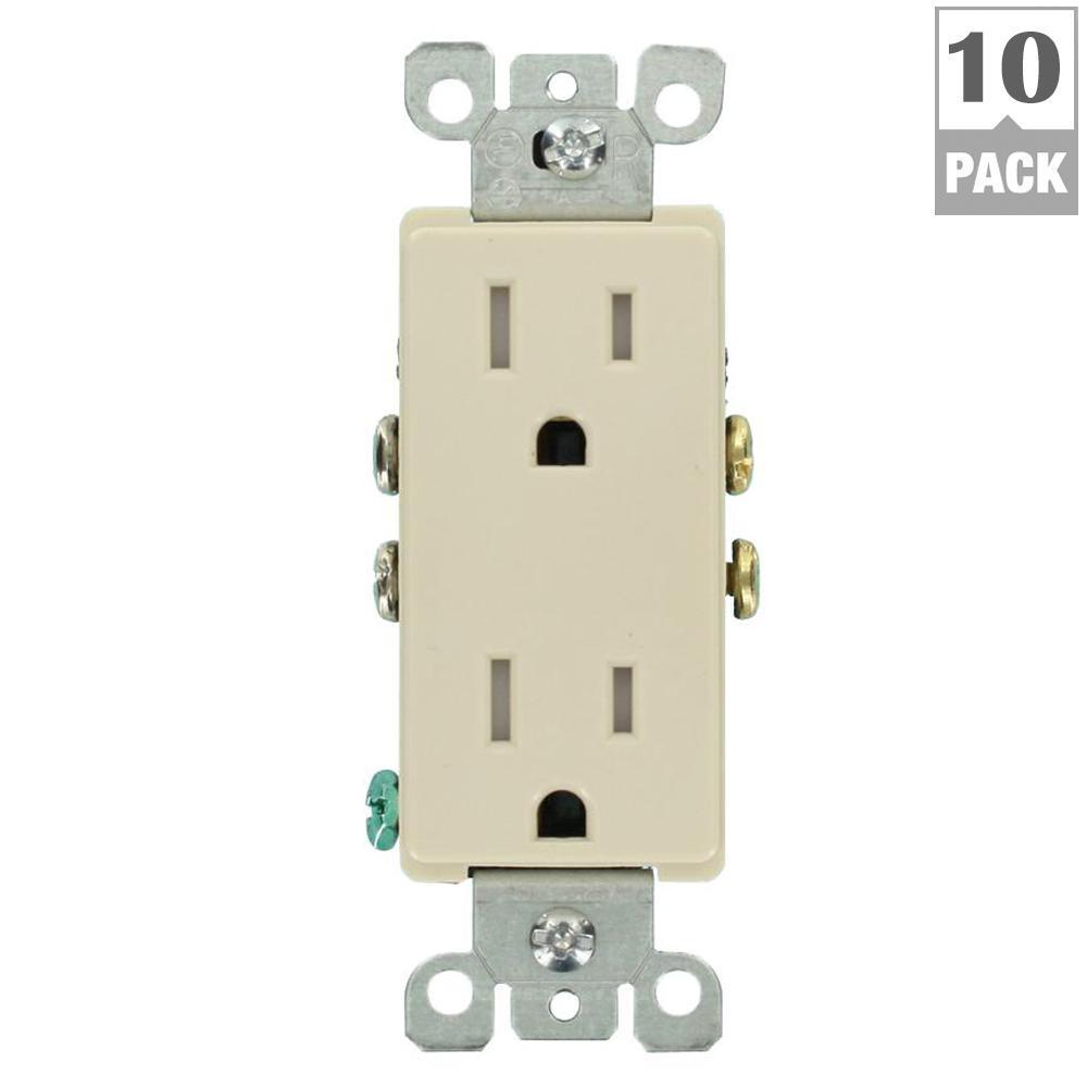 Decora 15 Amp Tamper-Resistant Duplex Outlet, Light Almond (10-Pack)