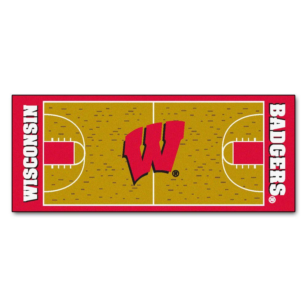 FANMATS University of Wisconsin 2 ft. 6 in. x 6 ft. Basketball Court Rug Runner Rug