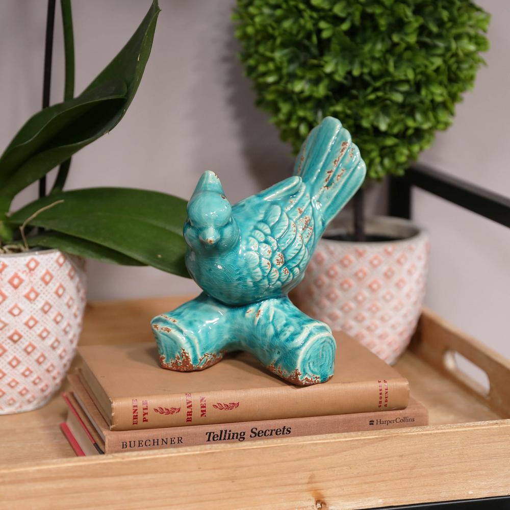7.5 in. H Bird Decorative Figurine in Blue Gloss Finish